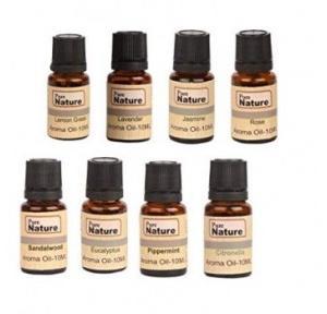 Pure Source Aroma Oil Lemon Grass, Lavender, Jasmine, Rose, Citronella, Eucalyptus, Peppermint, Sandal Wood, 100 ml (Pack of 8 Pcs)