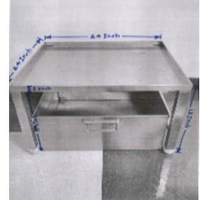 Water Dispenser Stand with Tray SS 202 With 1 Inch 4 Legs, Stand Size: 24x24x12 Inch, Tray Size: 22x22x10.5 Inch