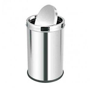 Swing Type SS Dustbin With Cover 12x24 Inch, 40 Ltr