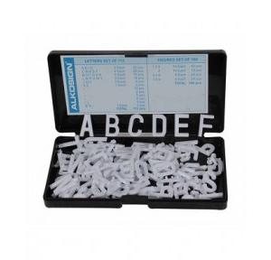 Alkosign Plastic White English Letters 24 mm, ASL 24 (Set of 112)