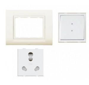 Anchor Roma Classic New Tresa Cover Plate 3M (30238CWH), 20A & 10A Heavy Duty Twin Socket (30828) and 20A 2 Way Switch (21088)