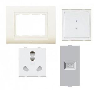Anchor Roma Classic New Tresa Cover Plate 8M (30384CWH), 20A & 10A Heavy Duty Twin Socket (30828) 3Pcs, 20A 2 Way Switch (21088) and Single Blank Plate (21598)