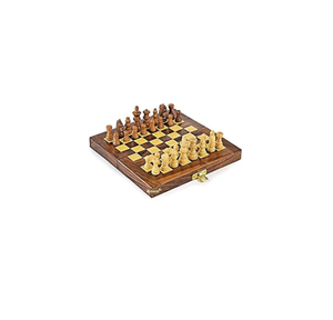 Fordable Wooden Chess Board Magnetic 32 Chess Pieces 16x16 inch