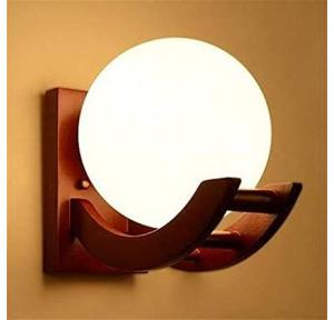 Lyse Decor LED Night Moon Shade Wooden Wall Light 5W