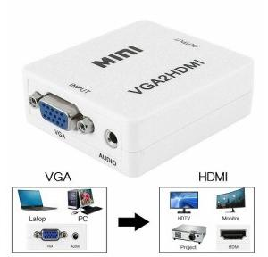 VGA to HDMI Connector Adapter with 3.5 Audio Accessories Mini