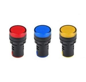 Panel Mount LED Indicator, 240V AC Red, Yellow, Blue Pack of 3 Pcs