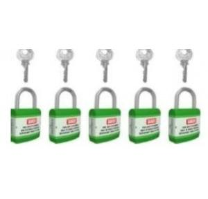 Jacket Long Shackle Padlock With Alike Key and ABS Instruction Stickers ABS SH-PL-LS-AK5 Green Pack of 5