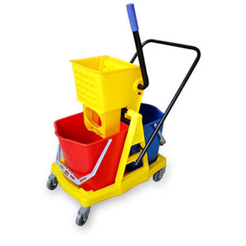 Double Mop Bucket Wringer Plastic Trolley Yellow and Red