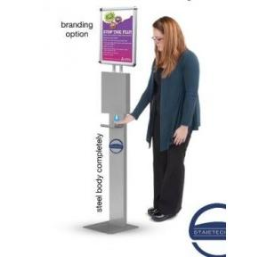 Staietech Floor Stand Automatic Alcohol Disinfection Dispenser with A4 branding Option Stainless Steel 1000 ml, FLRS