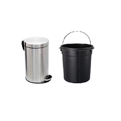 Dustbin Stainless Steel 202 24 Gauge 10x12 Inch, 11 Ltr with Plastic Bucket