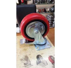PU Trolley Castor Wheel With Break 100 mm