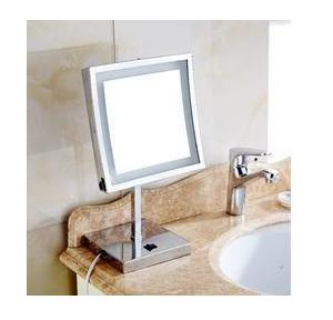 Dolphy Square Magnifying Mirror With One Side LED Mirror  Silver 5x8 Inch, DMMR0028