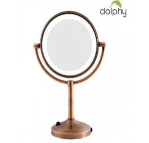 Dolphy Magnifying Mirror With 2 Side LED Mirror  Copper 8 Inch, DMMR0025