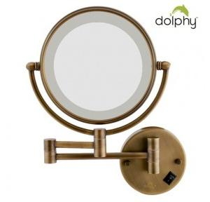 Dolphy LED Magnifying Shaving Mirrorr Brass frame and SS 304 body Bronze 8 Inch, DMMR0010