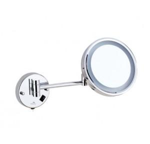 Dolphy Battery Operated Magnifying Mirror Stainless Steel and Brass  8 Inch, DMMR0035