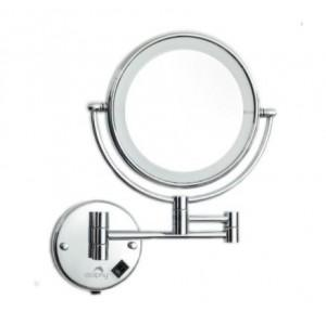Dolphy LED Magnifying Mirror Stainless Steel and Brass Silver 8 Inch, DMMR0009