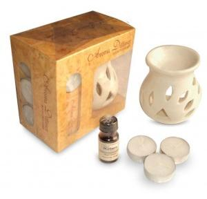 Pure Source Ceramic Aroma Burner Lamp White with 4 Tea Light Candle and  Oil 10 ml
