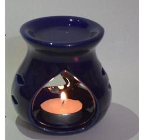 Pure Source Ceramic Aroma Burner Blue With 1 Tea Light Candle