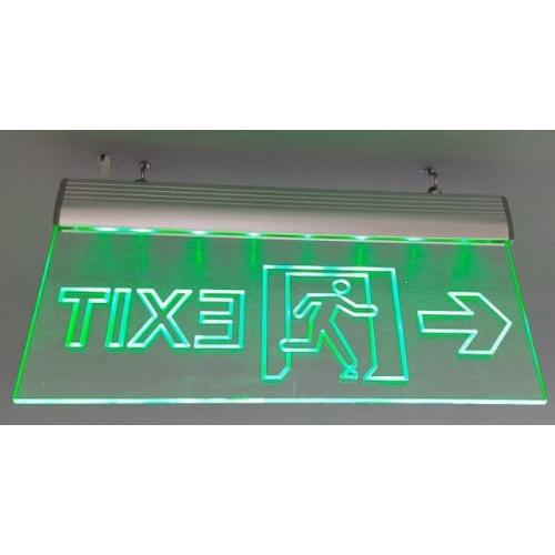 LED Edge Lit Exit Signage With Man Running And Arrow Symbol, Size:12x6 Inch, 6mm, 4 Hrs Battery Backup
