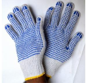 Gripwell GDWB 60 White Knitted With Double Side Blue Dotted Gloves, Length: 9.25 inch
