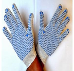 Gripwell GDWB 50 White Knitted Blue Dotted Gloves, Length: 9.25 inch