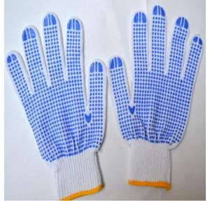 Gripwell GDWB 40 White Knitted Blue Dotted Gloves, Length: 9.25 inch