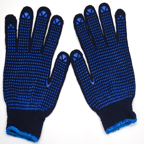 Gripwell GDBB 60 Blue Knitted Blue Dotted Gloves, Length: 9.25 inch