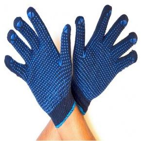 Gripwell GDBB 50 Blue Knitted Blue Dotted Gloves, Length: 9.25 inch