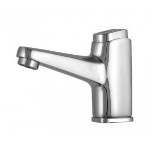 Dolphy Self-Closing Water Saving Time Delay Basin Sink Tap Chrome Plated+Brass (Inner) Silver DSPT0001