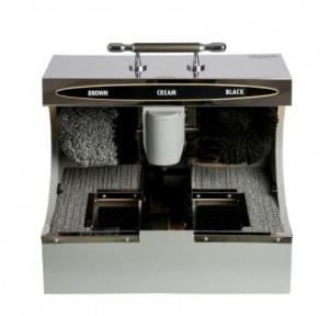 Dolphy Shoe Shining Machine with Sole Cleaner 304 Wood Stainless Steel 40 W Silver DSPM0007