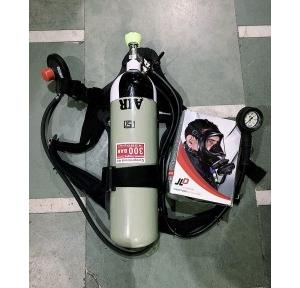 SCBA - Breathing Apparatus Fenzy : Consist of Full Face Piece with Back Pack with Demand Valve, Pressure Gauge and Warning Whistle as per EN 137, and with 300 bar x 6ltrs Capacity (45min) ISI Marked and PESO Approved Steel Cylinders