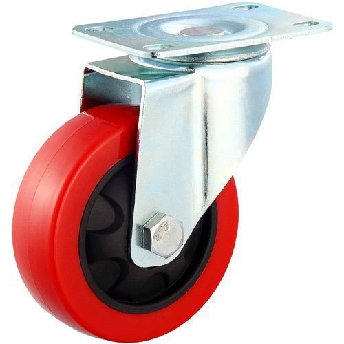 Wheel PU Trolley Without Break, 4x1.25 Inch, 360 Revolving