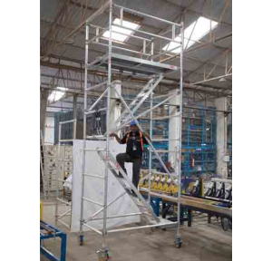 Aluminium Double Width Mobile Scaffolding Tower With Stairway, Model AL-122, Size : 1.4(W) X 2(L) X 5 meter(H)
