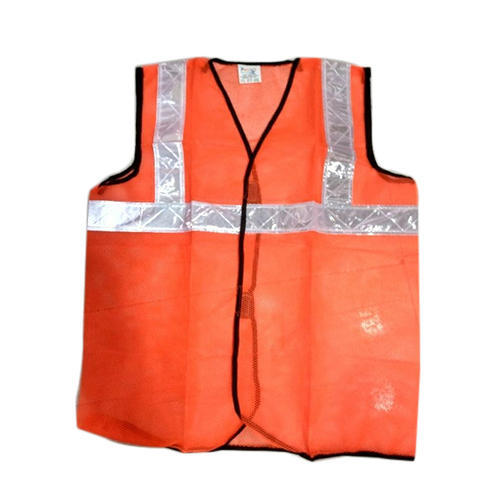 Safety Jacket Polyester Type 120 GSM With 2 Inch PVC Reflective Tape Large Red, With ERT Sticker