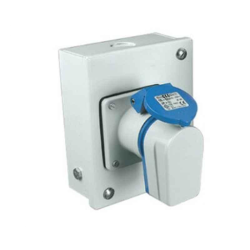 Neptune 16 A 5 Pin Domestic AC\/Industrial Plug & Socket Combined in Metal Enclosure without MCB