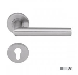 Dorma Pure 8998 Lever Handle With 6501 Roses, 6612 Escutcheons, 8mm Spindle With Fixing Screws For Door Thickness 35-55mm