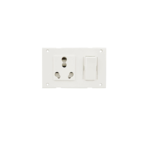 Crabtree UPS Power Socket 8 Modular Having One 16 Amp Switch And 6 Amp Socket 3 Nos, Blank Plate & Cover Plate