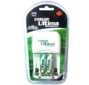Eveready 2100 Series Ultima Rechargeable Battery Charger (2100AABP 2CNIMH, White)
