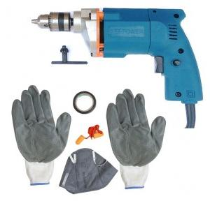 Dee Power Electric Drill With Safety Product Kit As Gloves + Tape + Mask + Ear Plug, 300 W, 2600 rpm