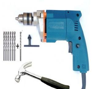 Dee Power Electric Drill Machine With 6 HSS Bits, 1 Masonry Drill Bit And 1 Hammer, 300 W, 2600 rpm
