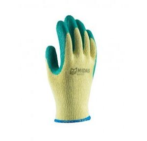 Midas Splendor Grip Yellow And Green Coated Safety Gloves, Medium (Pack of 12 Pair)