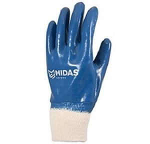 Midas Hercules 9000 Blue Nitrile Coated Safety Gloves, Medium ( Pack of 12 Pair )