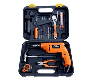 Planet Power PTK 700VR Black and Orange Tool Kit with powerful Reverse Forward Impact Drill, 700 W